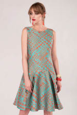 Closet Gold Turquoise Flared Hem Dress - 6