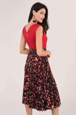 Closet Gold Red Print Pleated Skirt Dress - 2