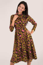 Leopard Print Midi Shirt Dress - 1