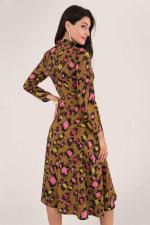 Leopard Print Midi Shirt Dress - 2