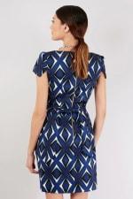 Blue Pleated Tie Back Tulip Dress - 2