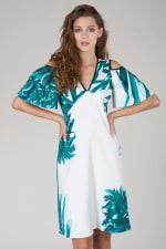 Multi Cut Out Ruffle Sleeve A Line Dress - 1