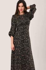 Black Geometric Shapes Puff Sleeve A-Line Dress - 3