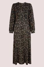 Black Geometric Shapes Puff Sleeve A-Line Dress - 5