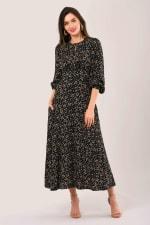 Black Geometric Shapes Puff Sleeve A-Line Dress - 1