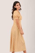 Apricot Polka Dot Puff Sleeve V-Neck Midi Dress - 3