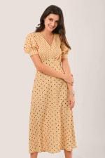 Apricot Polka Dot Puff Sleeve V-Neck Midi Dress - 4