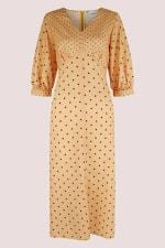 Apricot Polka Dot Puff Sleeve V-Neck Midi Dress - 6