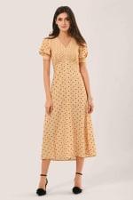 Apricot Polka Dot Puff Sleeve V-Neck Midi Dress - 5