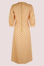 Apricot Polka Dot Puff Sleeve V-Neck Midi Dress - 7