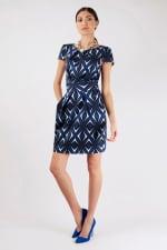 Blue Pleated Tie Back Tulip Dress - 1