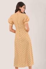 Apricot Polka Dot Puff Sleeve V-Neck Midi Dress - 2