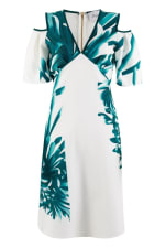 Multi Cut Out Ruffle Sleeve A Line Dress - 4