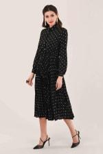 Black Pleated Shirt Dress - 4