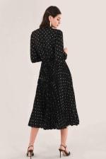 Black Pleated Shirt Dress - 2