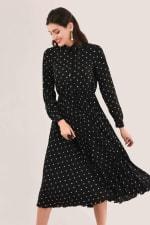 Black Pleated Shirt Dress - 1