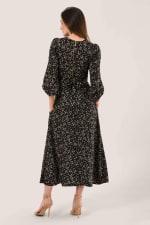 Black Geometric Shapes Puff Sleeve A-Line Dress - 2