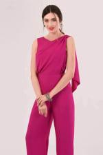 Pink Gathered Shoulder Jumpsuit - 3