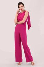 Pink Gathered Shoulder Jumpsuit - 4