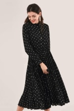 Black Pleated Shirt Dress - 3