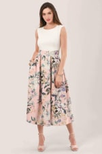 Closet Gold Peach Floral 2 in 1 Pleated Dress - 4