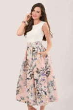 Closet Gold Peach Floral 2 in 1 Pleated Dress - 3