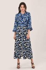 Blue Heart Print Puff Sleeve Midi Dress - 4