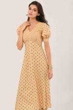 Apricot Polka Dot Puff Sleeve V-Neck Midi Dress - 1