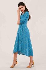 Blue Puff Sleeve Wrap Dress - 4