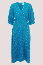 Blue Puff Sleeve Wrap Dress - 5