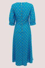 Blue Puff Sleeve Wrap Dress - 6