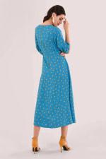 Blue Puff Sleeve Wrap Dress - 2