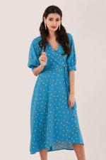 Blue Puff Sleeve Wrap Dress - 1