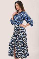Blue Heart Print Puff Sleeve Midi Dress - 3