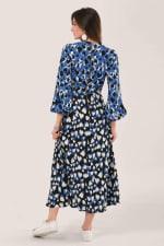 Blue Heart Print Puff Sleeve Midi Dress - 2
