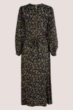 Black Geometric Shapes Puff Sleeve A-Line Dress - 6