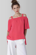 Pink Off The Shoulder Strap Blouse - 3