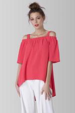 Pink Off The Shoulder Strap Blouse - 1