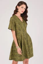 Mustard Wrap Over Circle Skirt Dress - 4