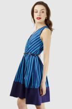 Blue Stripe Wrap Over Pleated Dress - 4