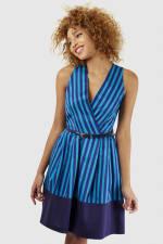 Blue Stripe Wrap Over Pleated Dress - 1