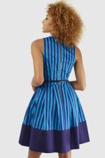 Blue Stripe Wrap Over Pleated Dress - 2