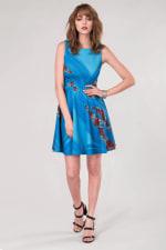 Blue Floral Sleeveless Skater Dress - 4