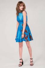 Blue Floral Sleeveless Skater Dress - 5