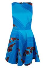 Blue Floral Sleeveless Skater Dress - 6
