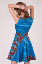 Blue Floral Sleeveless Skater Dress - 2