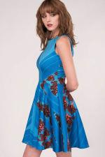 Blue Floral Sleeveless Skater Dress - 3