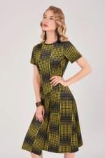Mustard Houndstooth Asymmetric A-line Dress - 1