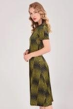 Mustard Houndstooth Asymmetric A-line Dress - 4