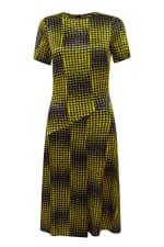 Mustard Houndstooth Asymmetric A-line Dress - 3